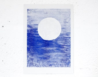 Moon - Risograph Printed artwork of Moon in the sky with hand constellations surrounding it. Blue Riso print A3 illustration.