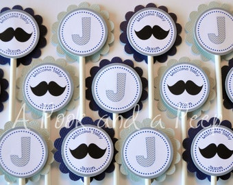 Mustache and Chevron Custom Cupcake Toppers for Baby Showers and Birthday Parties in Navy, Gray, and Chevron Set of 12