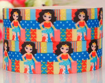 22mm, 7/8 Inch Wonder Woman Grosgrain Ribbon by the Yard for Hairbows, Scrapbooking