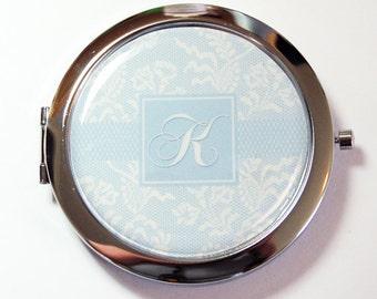 Bride compact mirror, Monogram, mirror, Something Blue, something blue for wedding, Wedding, Personalized, gift for bride  (2646)
