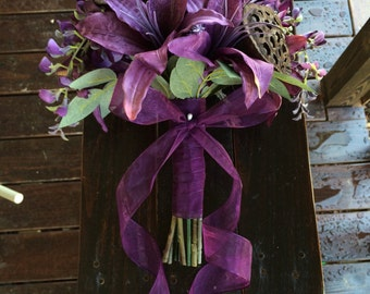 Woodsy Purple Tiger Lily Hand-Tied Bouquet
