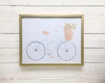 Mint Watercolor Bicycle with Flower Basket 8x10 Print in Gold Frame
