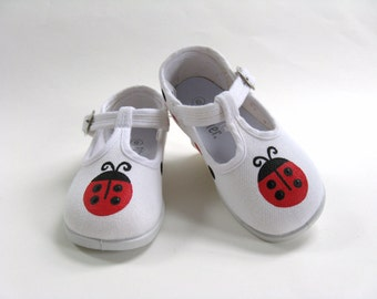 Ladybug Shoes, White T Straps Hand Painted for Baby and Toddlers
