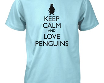 Men's Keep Calm and Love Penguins Funny T-Shirt Animals Tee