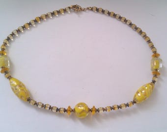 yellow gold foil bead necklace