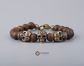 Bracelet with Bronze Skulls and Bronzite Beads Wristband with Skull art. 001-346