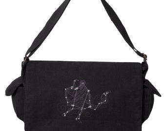 Ophiuchus Bag, Horoscope Ophiuchus Bag, Ophiuchus Messenger, Ecliptic Constellations - Ophiuchus Embroidered Canvas Cotton Messenger Bag