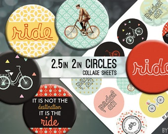 Bike Ride Bicycle Digital Collage Sheet 2.5in and 2 Inch Circle Download Printable Images for Gift Tags Cards Scrapbooking JPG