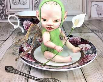 Art Doll Little Green Fairy, OOAK, Felt Ornament, Fantasy Creature, Collectible Art Doll, Handmade Doll, Valentine's day gift for her