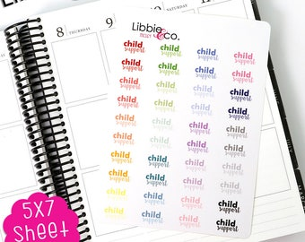 MC164 Pale Child Support Stickers! Perfect for Erin Condren, Happy, Mambi, Plum Paper and Personal Planners!