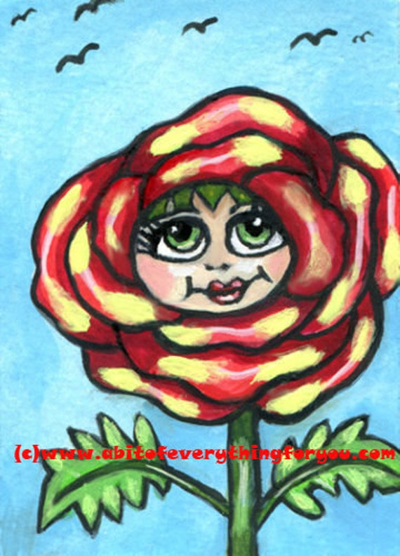 red yellow rose girl flower painting aceo original art atc acrylics fairytale whimsical modern artwork