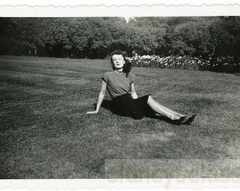 vintage photo 1947 Letting the Sun Shine on her Eyes Closed Pretty Lady in Grass Poses