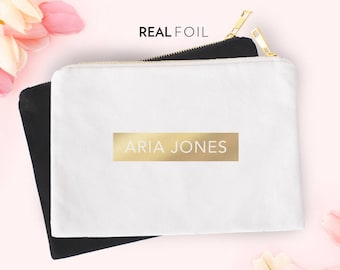 Foil Name Pouch | Carry All | Pouch | Cosmetics Pouch | Makeup Bag | Zipper Pouch | Gold Foil | Silver Foil | Personalized Name