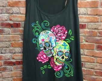 Sugar Skull Tanks-Womens Tanks-Tanks-Womens Clothing-Racerback Tank-Sugar Skulls Racerback-Sugar Skulls-Day Of Dead Shirt-Women's Apparel