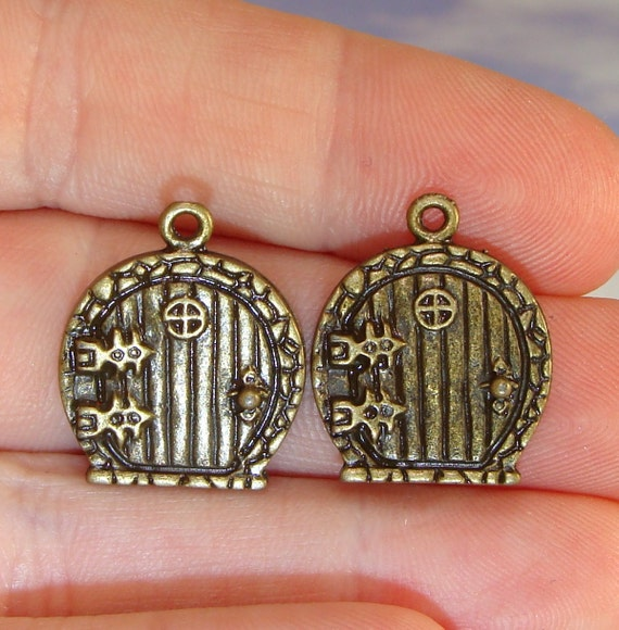 & 2 Mini Fairy Door Charms ROUND for Earrings Friendship