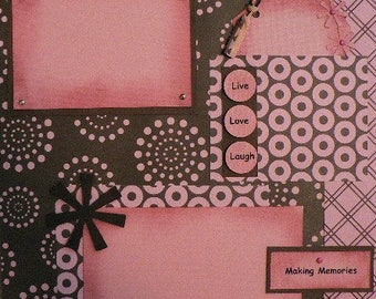 Pink and Brown Retro 12 x 12 Scrapbook Layout Pattern