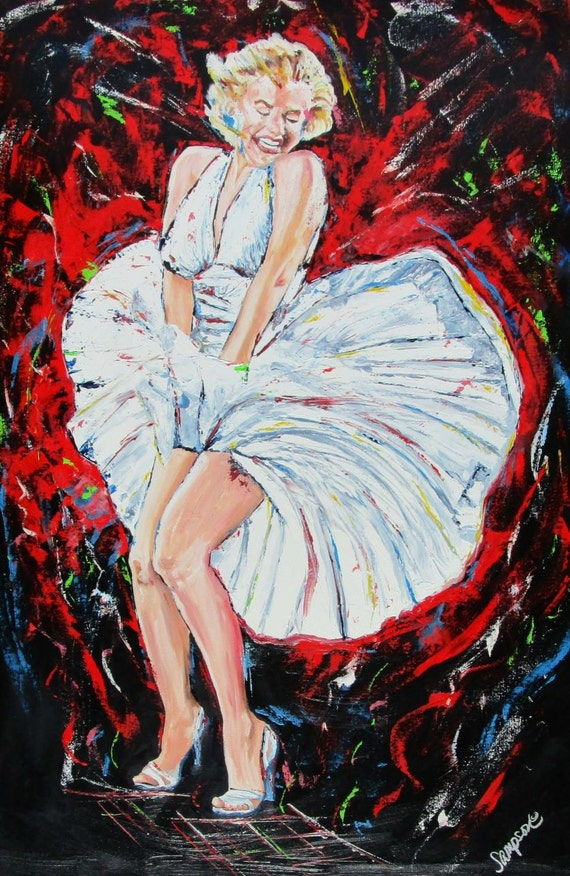 """Marilyn Monroe original oil painting on canvas 24"""" x 36"""" ICON Movie Star FREE SHIPPING"""