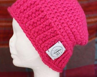 Pink Beanie. Handmade crochet beanie made with soft wool. Very warm.