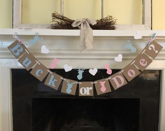 Buck or Doe Gender Reveal Baby Shower Decorations Buck Or Doe Banner Stag Doe Deer Decorations Banner Boy or Girl In Your Color Choices
