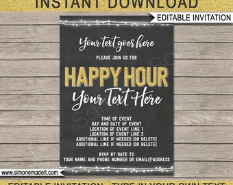 Happy Hour Invitation - Printable Happy Hour Invite - Chalkboard & Gold Glitter - INSTANT DOWNLOAD with EDITABLE text - you personalize