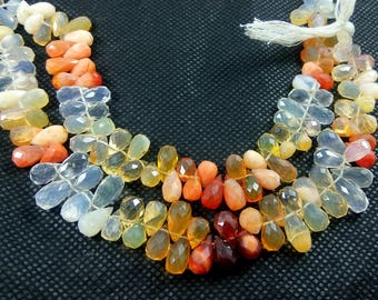 Natural Faceted Drops Fire Opal Semi Precious Gemstone Beads 8'' 80.64 Ct.