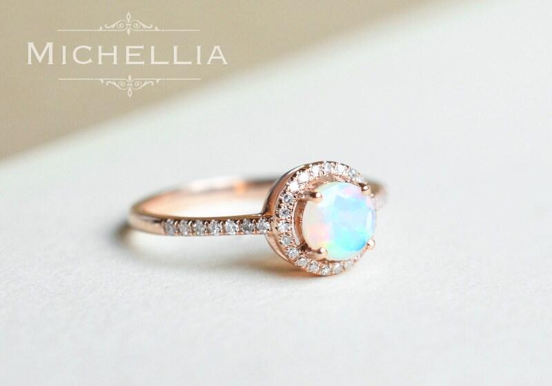 Petite Halo Diamond Ring in Opal Ethiopian Fire Opal Halo