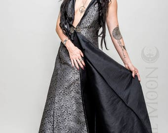 "NEW: The Metallic Silver ""Abstract Triangles"" REVERSIBLE to Black Opera Vest Hooded Long Dress by Opal Moon Designs (Size S-XXL)"