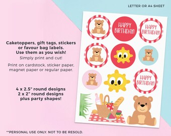 Picnic cupcake toppers, Picnic labels, Printable teddy bears picnic cupcake toppers, Kids Picnic party labels, Picnic birthday party labels