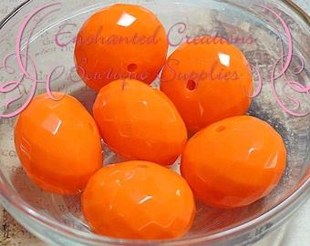 26mm Neon Orange Faceted Rondelle Beads 6pcs