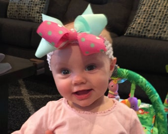 Bow Crown, Poke a Dot & Mint (Hair Bow Attached by Band, Newborn-3 Yrs)
