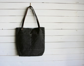 Waxed Canvas Everyday Tote Bag, Brown