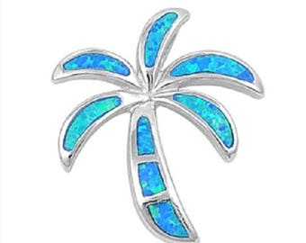 925 Sterling Silver Palm Tree Pendant with Blue Opal - 27 mm