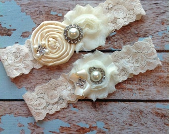 61 different colors / Wedding garter / IVORY garter SET / wedding garters / bridal  garter/  lace garter / vintage lace garter