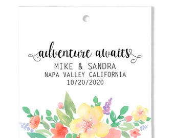 Thank You Wedding Favor Tags, Floral Personalized Wedding Gift Tags, Wedding Custom Gift Tags t21