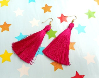 Hot Pink Tassel Earrings, Neon Pink Earrings, Fuchsia Tassel Earrings, Silk Tassel Earrings, Wedding Earrings, Hot Pink Earrings.