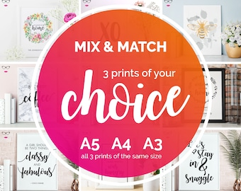 Mix & Match Print Deal - Save On Set Of 3 Prints - Choose Any 3 Prints - real foil wall art, quote print, typography, custom quote design