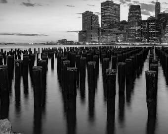Brooklyn Bridge Park, Brooklyn Bridge, New York New York, NYC, Fine Art Photography, Black and White Photography