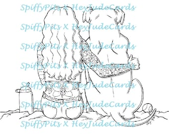 Digital Stamp Coloring Page - Beautiful Tattooed Gal and Her Pitbull - A Portion of Every Sale goes to Rescues!!!