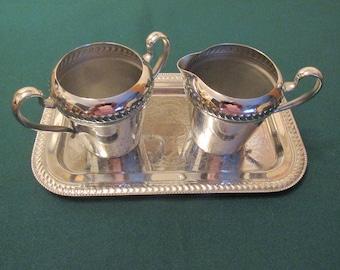 Cromwell Silver MFG Corp Chromium  Tray/Creamer and Sugar Holder