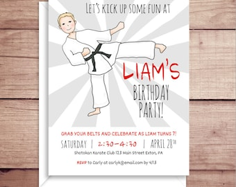 Karate Invitations - Party Invitations - Karate Birthday Party Invitations - Boy Birthday Party Invitations - Custom Invitations