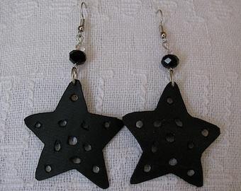 Recycled inner tube star crystal earrings, Upcycled rubber star earrings, Reused bike tire star crystal earrings