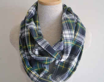 Navy Blue Green and White Plaid Infinity Scarf - Unisex