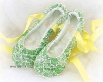 Ballet Slippers Green Yellow Moss Green Wedding Ballet Flats Shoes Custom Bridal Flats Shoes Shoes for Brides Flats with Ribbons