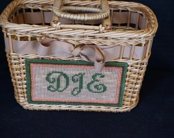 Vintage Wicker Purse or Sewing Knitting Crocheting Craft Basket  Lined with Fabric  Needlepoint Initials on Front  Handles to Carry