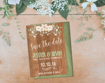 Rustic Wood Save the Date Card, Floral Save the Date Printable, Save the Date Wood, Save the Date Digital, 5x7 in PDF JPG Digital Download