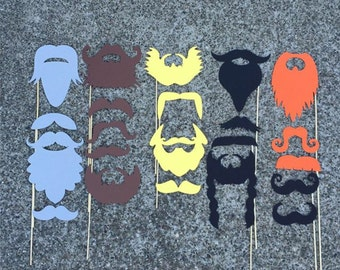 22-piece Mustache & Beard Props, MOVEMBER - Blonde, Brunette, Redhead, Silver, Black - Gentleman Props, Wedding Props, Photo Booth Props,