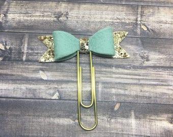 Glitter + felt bow planner clip - Aqua Mist | Planner Accessories | Bible Journaling | Paper Clip | Bible Bookmark