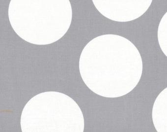Gray and White Large Polka Dot Patterned Fabric - Half Moon Modern by Moda 1/2 Yard