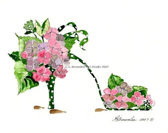 Polka Dancing Hydrangea Flower Shoe Print - Free Shipping - Signed and Enhanced with Watercolor