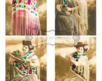 Vintage shabby woman DIGITAL Collage sheet DOWNLOAD,mother's day card, digital Ephemera, junk journal, vintage ATC, vintage greeting card
